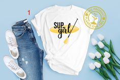 Sup Girl, Paddleboarding, Fan Gear, Stand Up, Gift Ideas, Logo, Sleeves, Cotton, T Shirt