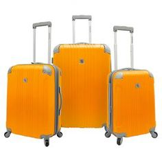 Jetset in style with this textured luggage set, perfect for weekend jaunts and exotic getaways. 3 rolling suitcases feature 360-degree wheels and self-lock telescoping handles.   Product: Small, medium and large suitcaseConstruction Material: ABS composite and aluminumColor: OrangeFeatures:  Four-corner riveted protective shells for durabilitySelf-locking telescopic handle system with push-down mechanismFully lined interior with organizational pockets, tie-down straps and shoes ...