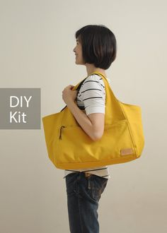 Sunny Day Canvas Bag DIY Kit with Sewing Pattern & by niizo