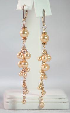 Swarovski Gold Pearl Bubble Earrings by alison999 on Etsy, $60.00