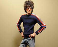 vintage padded ski sweater 70s red white blue stripe 1970 ski sweater 100% wool racing competition padded sweater medium M