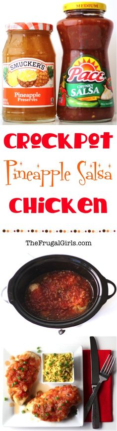 Crockpot Pineapple Salsa Chicken Recipe ~ from TheFrugalGirls.com ~ this easy slow cooker chicken dinner is full of sweetness + spicy zing! {add it to the menu this week ~ it is SO good!}