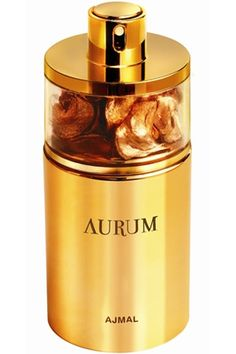 Aurum Ajmal.    Aurum by Ajmal is a Floral Fruity fragrance for women. This is a new fragrance launched in 2011. The fragrance features jasmine, african orange flower, gardenia, amalfi lemon, raspberry, woodsy notes, musk, amber and vanille.