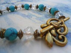 Karina Turquoise and Crystal Bracelet in by FizbanFunDesigns, $32.00