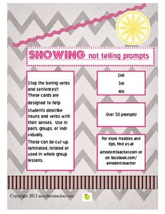 Writing Prompts: Show Not Tell!  2nd, 3rd, 4th free