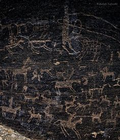 Prehistoric rock art in the remote valley of Teimareh in central Iran. The valley is full of ancient petroglyphs, belong to 4500 to 17000 years ago. With over 30,000 engraved images, the valley is one of the world's most important petroglyph sites. photos: By: @ Babak A. Tafreshi