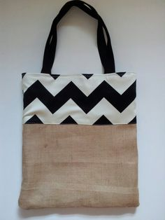DIY chevron burlap / hessian tote bag...use checkered, instead of Chevron :)