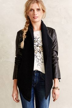 Anthropologie North Haven Jacket M & L, Black Vegan Leather Topper, John & Jenn #JohnJenn #BasicJacket