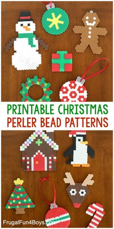 Printable Christmas Perler Bead Patterns - Print patterns to make 11 different Christmas Perler bead projects! Snowman gingerbread house wreath Christmas tree penguin and more! Perler Bead Designs, Easy Perler Bead Patterns, Melty Bead Patterns, Perler Bead Templates, Hama Beads Design, Beading Patterns Free, Loom Patterns, Print Patterns, Perler Bead Ornaments Pattern