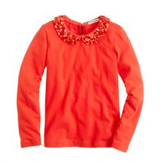 Girls' long-sleeve sparkle-collar tee. In the blue, not as shown, for Lulu's blue eyes