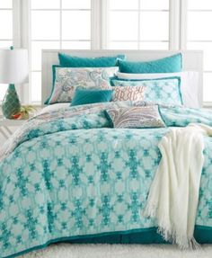 Give your room a classic look with this Fretwork Aqua comforter set. This 10-piece set from Kelly Ripa Home provides everything you need to transform your bedroom into a stylish masterpiece. | Cotton;