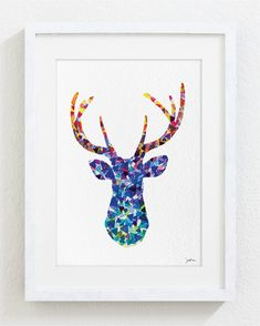 Blue Deer Watercolor Print - 5x7 Archival Print - Deer Painting - Deer Art Print - Geometric Art, Wall Decor Art Home Decor Housewares