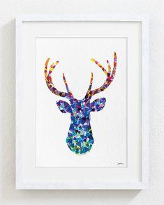 Blue Deer Watercolor Print - 5x7 Archival Print - Deer Painting - Deer Art Print - Geometric Art, Wall Decor Art Home Decor Housewares
