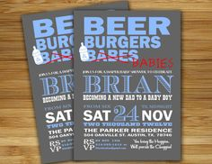 Get the men involved! HAHA   Beer and Burgers baby shower for fathers  dad baby by 2birdstudios, $18.00
