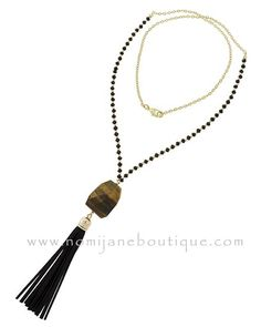"""""""Earned It"""" tassel necklace ~ $29.95 #njboutique #tasselnecklaces #love #cute #iwantone #onlineshopping #fashion #fashionboutique Shop Now > http://nomijaneboutique.com/collections/jewelry-accessories/products/earned-it-tassel-necklace?variant=9863214404"""