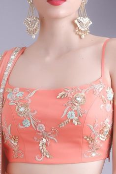 22 Trendy skirt and crop top indian peach Saree Blouse Neck Designs, Fancy Blouse Designs, Lehenga Designs, Lehnga Dress, Lehenga Blouse, Dress Indian Style, Indian Blouse, Indian Designer Outfits, Indian Outfits