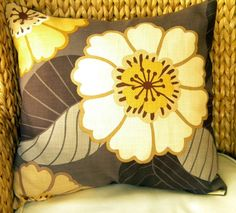 Designer Decorative Throw Pillow Cover - Kravet - Just So - Large Scale Flora l- Gray, Browns, and Gold