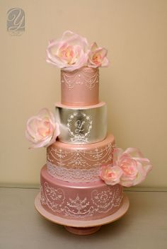 """""""Silver Blush""""  Freehand  icing with  silver leaf and    large wafer roses  ~ all edible"""