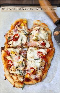 No Knead Buttermilk Chicken Pizza
