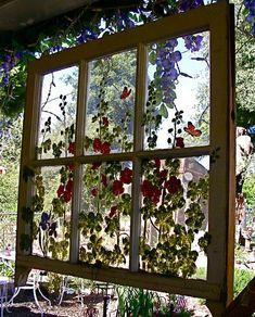 old windows handpainted - Bing Images✘ღ✘•✿• ❤ old windows in the garden #gardenfurniture