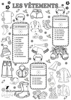 CLOTHES worksheet - Free ESL printable worksheets made by teachers French Teaching Resources, Teaching French, French Lessons, English Lessons, French Worksheets, French Education, French Outfit, French Grammar, Core French