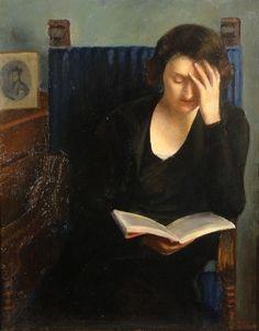 Woman reading by Tullia Socin (1907- ).