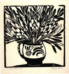 Margaret Preston was an Australian painter and printmaker who was inspired by her native flora and rendered it in some magical botanical artworks. Australian Painters, Australian Artists, Linocut Prints, Art Prints, Block Prints, Margaret Preston, Australian Wildflowers, Plant Illustration, Indigenous Art
