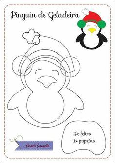 Risultati immagini per molde natal em feltro Felt Christmas Decorations, Felt Christmas Ornaments, Christmas Crafts, Felt Ornaments Patterns, Felt Crafts Patterns, Ornament Template, Penguin Craft, Felt Penguin, Fall Sewing