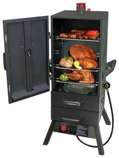 SMOKY MOUNTAIN™ Two Drawer GAS Vertical Smoker. This vertical Smoker from Landmann features Easy Access drawers to the water pan and chip box. Outdoor Fryer, Outdoor Grill, Outdoor Cooking, Indoor Outdoor, Outdoor Decor, Metallica, Charcoal Smoker, Cool Things To Buy, Door Handles