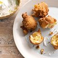 corn fritters with yogurt dip