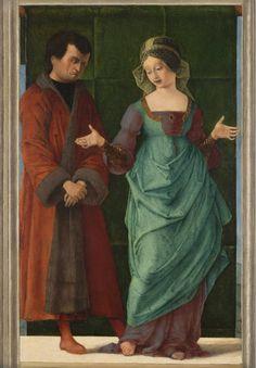 "renaissance-art: "" Ercole de' Roberti c. Portia and Brutus "" Mode Renaissance, Renaissance Kunst, Renaissance Portraits, Renaissance Costume, Renaissance Fashion, Renaissance Clothing, Italian Renaissance, 15th Century Fashion, Italian Paintings"