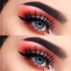 Bright Orange Makeup Look for Blue Eyes
