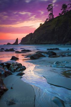 Sunset along the beaches of the Pacific Northwest in Olympic National Park By???