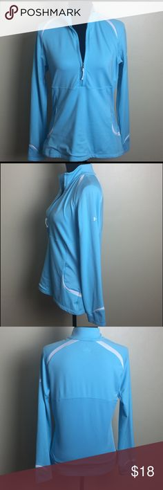 Under Armour Quarter Zip Light Weight Pullover Women's Under Armour pre-owned with love ❤️. Powder blue with pockets quarter zip pullover light weight. Minimal signs of pilling one flaw please see pictures very unnoticeable. The size tag says S/M. The measurements are bust 18in Length 25in Under Armour Jackets & Coats