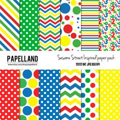 Sesame Street inspired digital paper pack  for scrapbooking Making Cards Tags and Invitations / Instant Download Papelland 3.99 USD