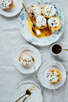 Yoghurt and almond cake with orange-caramel peaches and vanilla ...