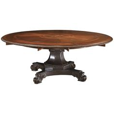 Travel back to an earlier era for a design scheme matching this Bonaire Round Dining Table. Elegantly crafted and endowed with upgraded accents, it built from select hardwoods and maple veneers and fi