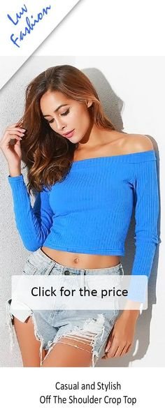 89051d895ba SALE on NOW - Sexy off the shoulder crop tops long sleeve blue. Looks great