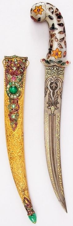 Ottoman jambiya, 19th century, steel, jade, gold, agate, amber, emerald, ruby, crystal, diamond, H. with sheath 18 1/4 in. (46.4 cm); H. without sheath 16 5/8 in. (42.2 cm); H. of blade 11 3/4 in. (29.8 cm); W. 3 1/2 in. (8.9 cm); Wt. 17.9 oz. (507.5 g); Wt. of sheath 8.1 oz. (229.6 g), Met Museum, Bequest of George C. Stone, 1935.