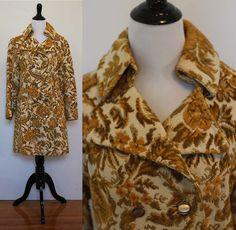 Vintage 1960s Floral Mustard Yellow Tapestry Coat by VintageKriket