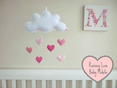 Raining Love Baby Mobile or Wall Hanging -  Pinks - Ready to Ship Now | Felt