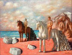 Giorgio de Chirico Il Dioscuri in Riva, 1934 Acquavella Galleries Art Basel Basel, Surrealism, Art Gallery, Horses, Fantasy, Classic, Artwork, Artist, Acquavella Galleries