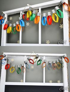 DIY CHristmas lights garland. This Christmas lights garland is a simple craft project that will give the kids something to do on a stormy day!