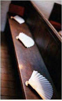 Eventail façon soie - Blanc - Blanc Organza