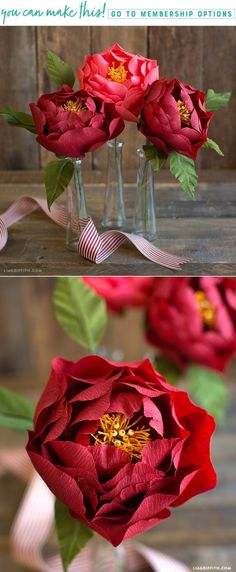 Crepe Paper Peony for Fall - Lia Griffith - www.liagriffith.com #diyinspiration #paperflower #paperflowers #crepepaperflowers #crepepaperrevival #diyidea #diyideas #paperart #papercut #madewithlia