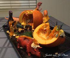 When the dinosaurs massacred the pumpkins during Dinovember. Dinosaur Crafts Kids, Crafts For Kids, Bento, Dinosaur Photo, Pumpkin Jack, Big Family, Taking Pictures, Yule, 3rd Birthday