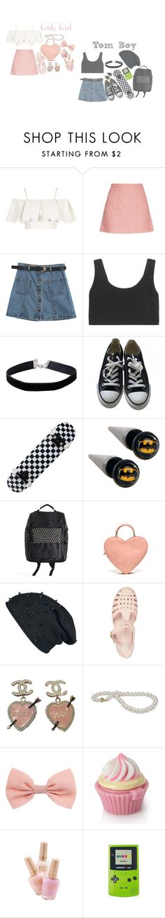 """""""Girly Girl Vs Tom Boy"""" by vintageenglishrose ❤ liked on Polyvore featuring Topshop, Gucci, Chicnova Fashion, adidas Originals, Miss Selfridge, Converse, Equipment, River Island, Chanel and Forever 21"""