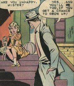 Pop Art - Are you unhappy Mister? Comics Vintage, Old Comics, Comics Girls, Funny Comics, Vintage Comic Books, Comics Illustration, Illustrations, Pop Art Vintage, Retro Vintage