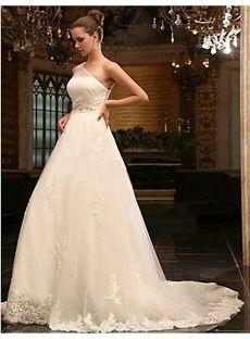 Gorgeous A-line Floor-length One-shoulder Appliques Sleeveless Court Train Wedding Dress & cheap Wedding Dresses