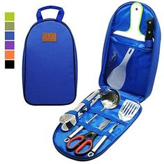Gold Armour Camp Kitchen Utensil Organizer Travel Set Portable BBQ Camping Cookware Stainless Steel Utensils Travel Kit Outdoor Equipment Cutting Board Tongs Scissors Knife Ladle Spatula #travel #campinggear #campkitchenutensilorganizer #campingutensils #utensilsorganizer